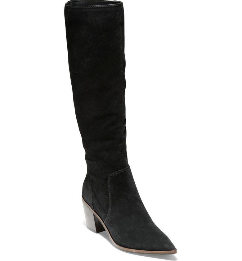 COLE HAAN Willa Knee High Boot, Main, color, BLACK SUEDE