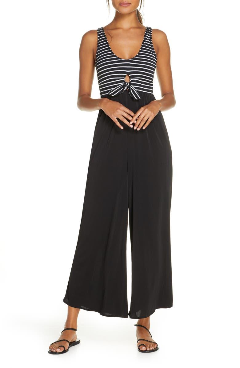 ROBIN PICCONE Sailor Wide Leg Cover-Up Jumpsuit, Main, color, BLACK/ WHITE