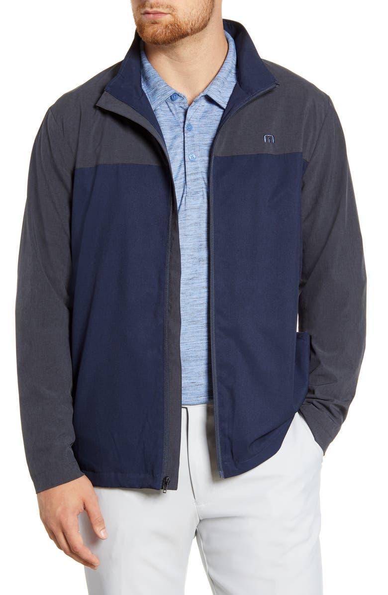 TRAVISMATHEW Future Primitive Regular Fit Zip Jacket, Main, color, HEATHER BLACK