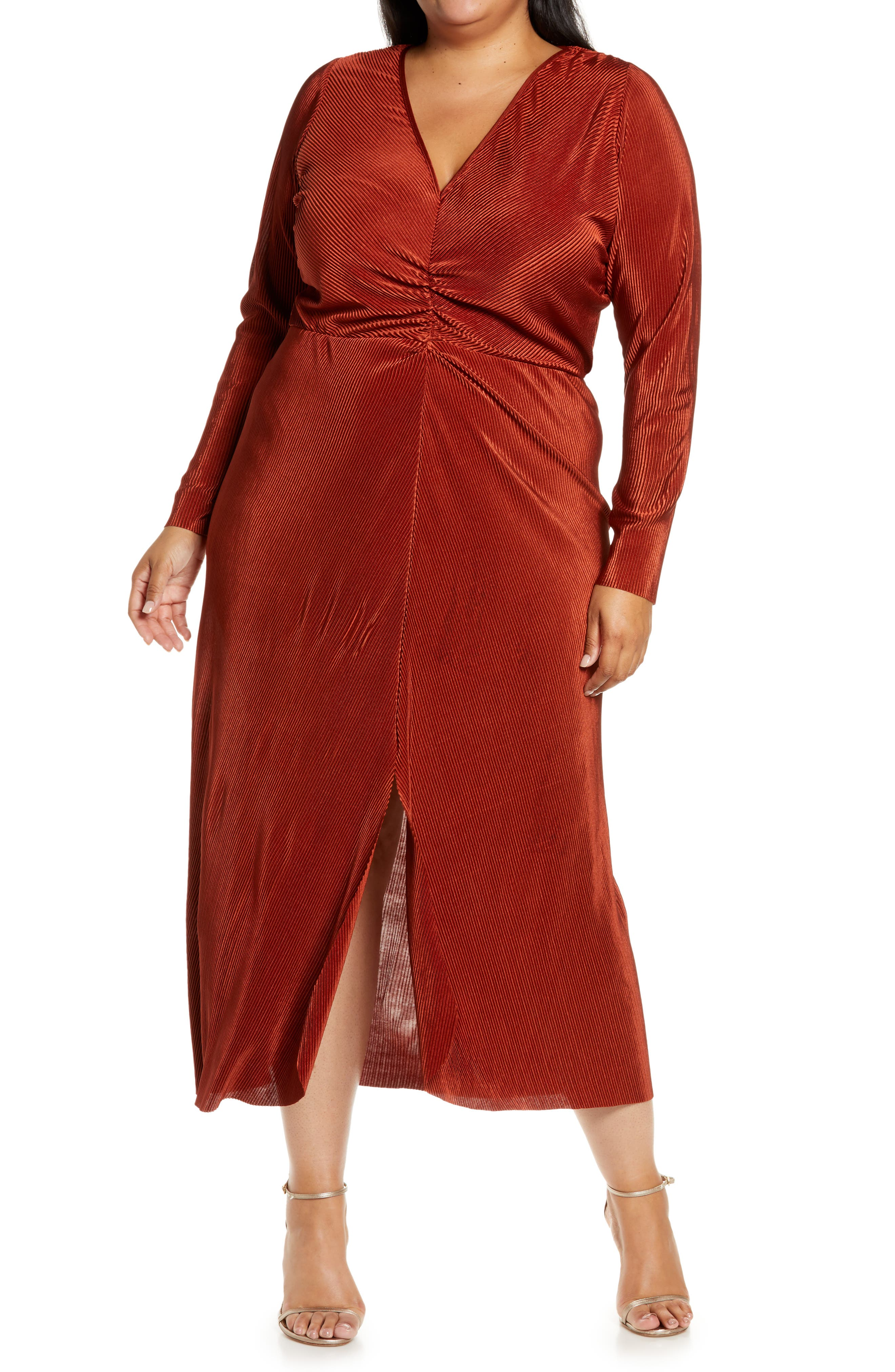 Long Sleeve Plisse Dress