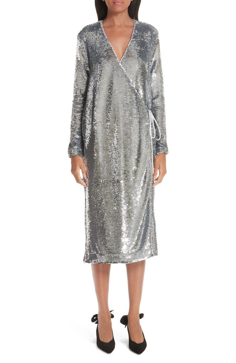 GANNI Sequin Dress, Main, color, 040