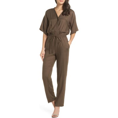 Fraiche By J Surplice Jumpsuit, Green