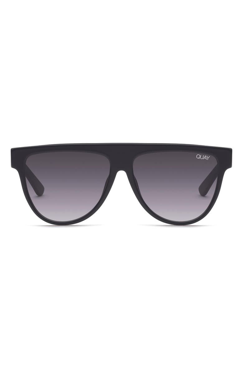 QUAY AUSTRALIA Last Night 57mm Flat Top Sunglasses, Main, color, BLACK/ SMOKE