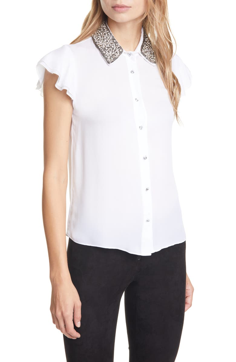ALICE + OLIVIA Willa Flutter Sleeve Embellished Silk Top, Main, color, WHITE/SILVER