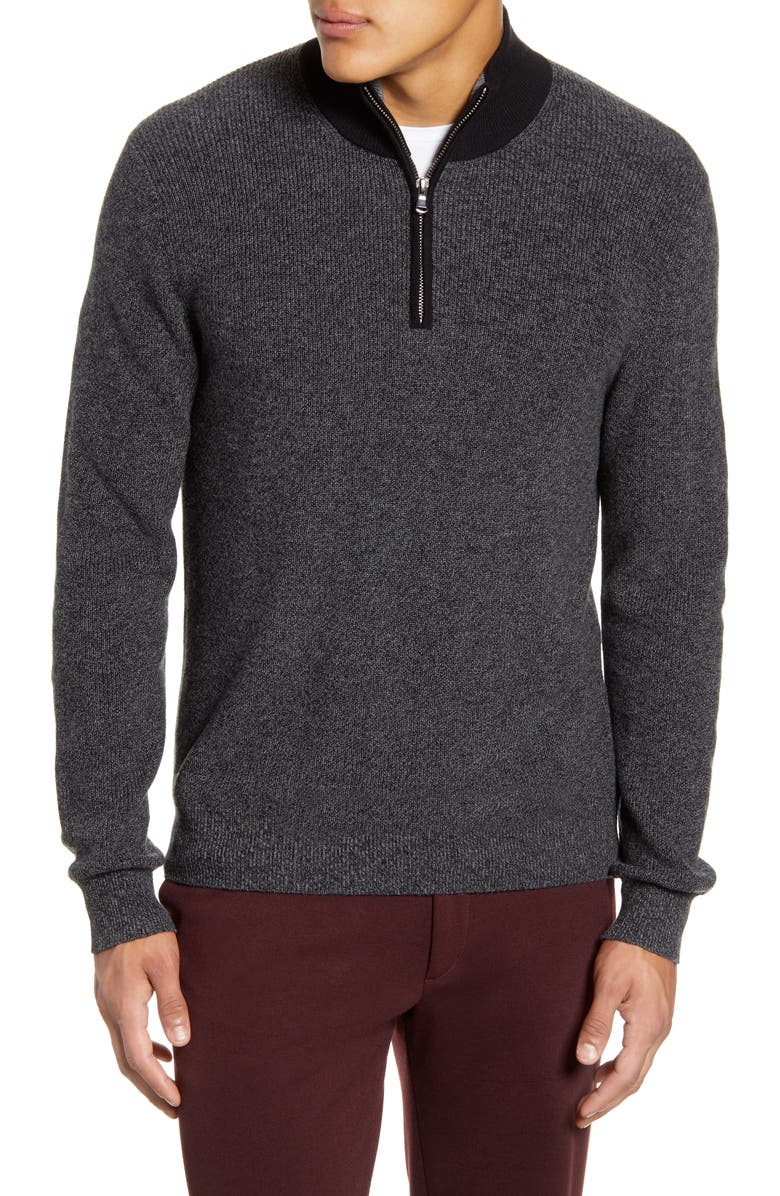 ZACHARY PRELL Crawford Regular Fit Quarter Zip Sweater, Main, color, DK GREY