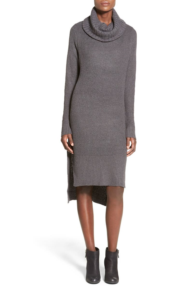 ALL IN FAVOR Cowl Neck Sweater Dress, Main, color, CHARCOAL