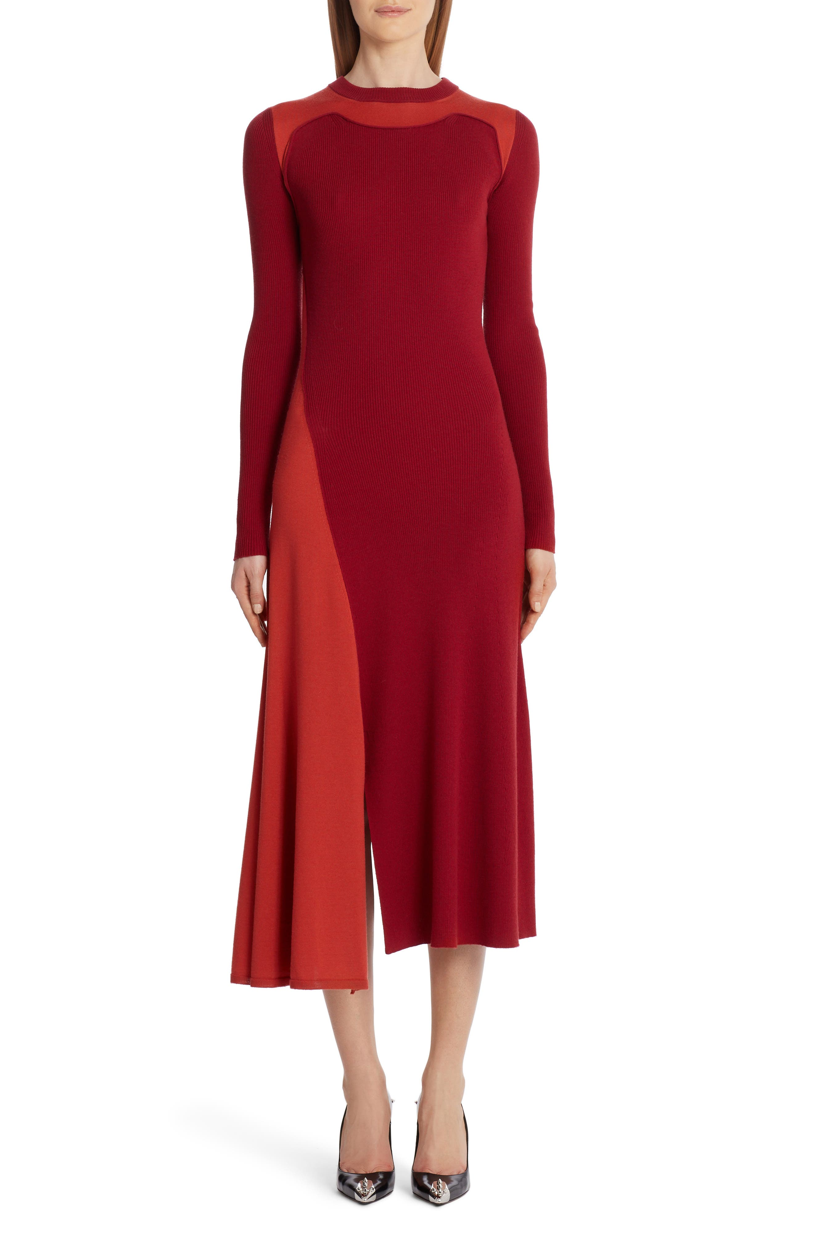 Drawing inspiration from patchwork quilts, this asymmetrical wool-and-cashmere dress mixes colors and various ribbed textures for a strong, modern look. Style Name: Alexander Mcqueen Colorblock Long Sleeve Wool & Cashmere Sweater Dress. Style Number: 6060649. Available in stores.