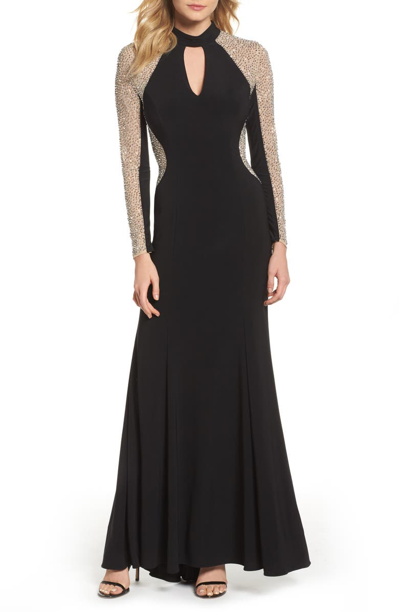 XSCAPE Beaded Choker Neck Gown, Main, color, BLACK/ NUDE/ SILVER