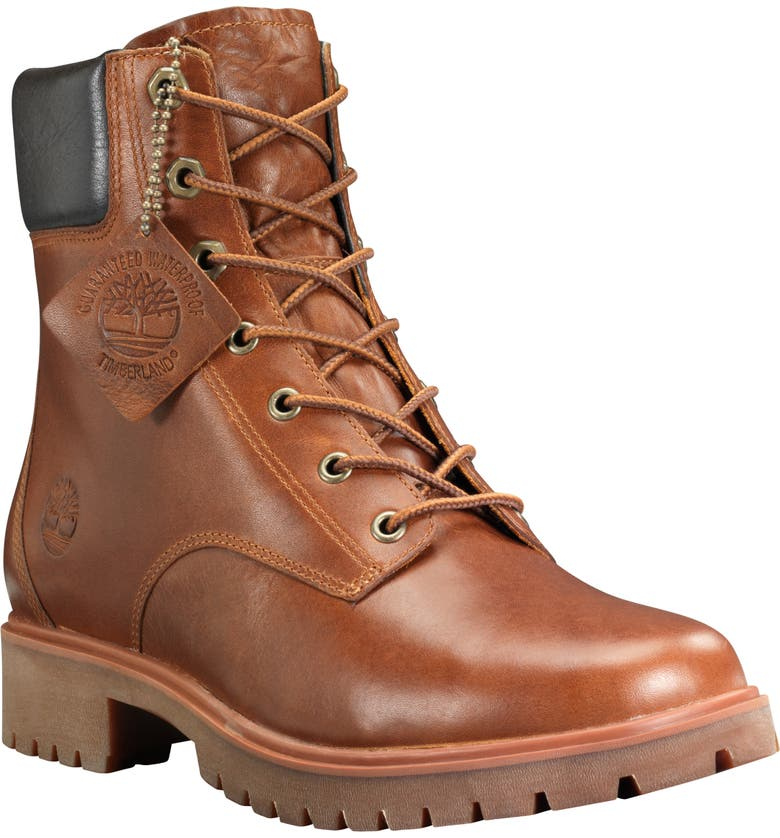 TIMBERLAND Jayne Waterproof Hiking Bootie, Main, color, BROWN LEATHER