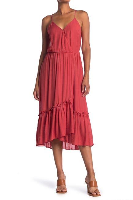 Image of Lush Flounce Hem Woven Surplice Dress