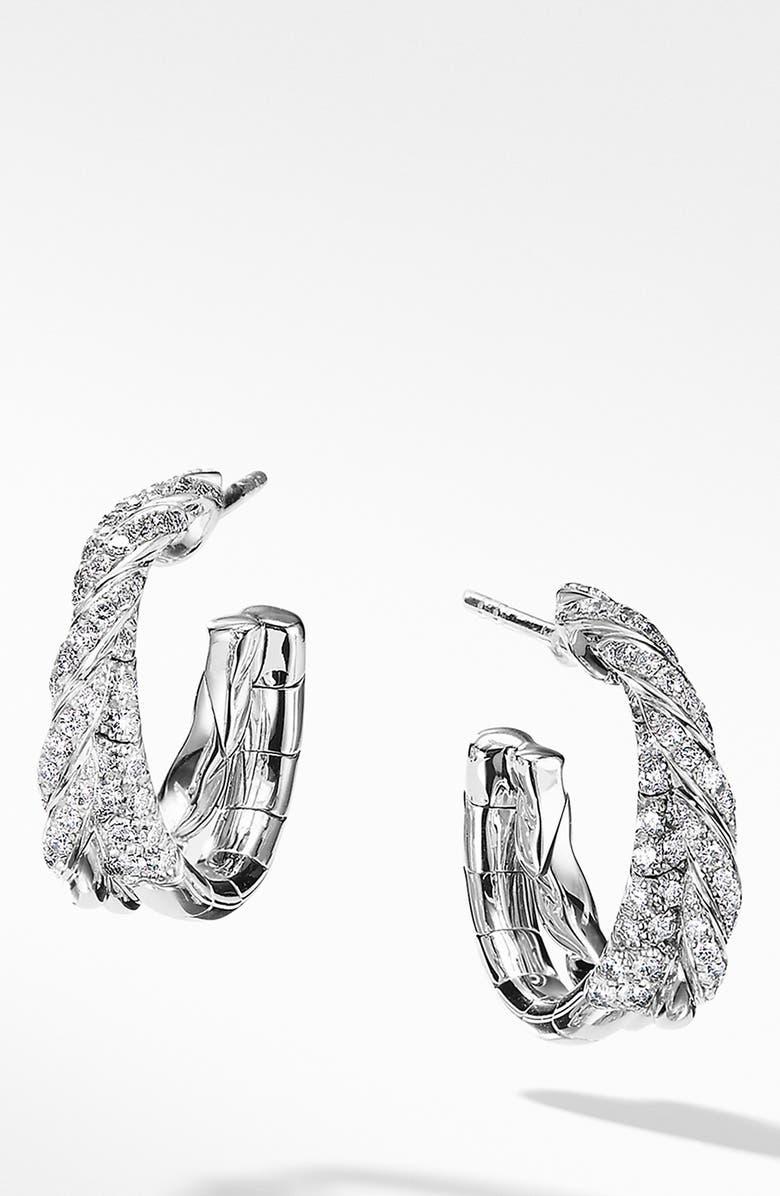 DAVID YURMAN Pavéflex Petite Diamond & 18K White Gold Hoop Earrings, Main, color, WHITE GOLD/ DIAMOND