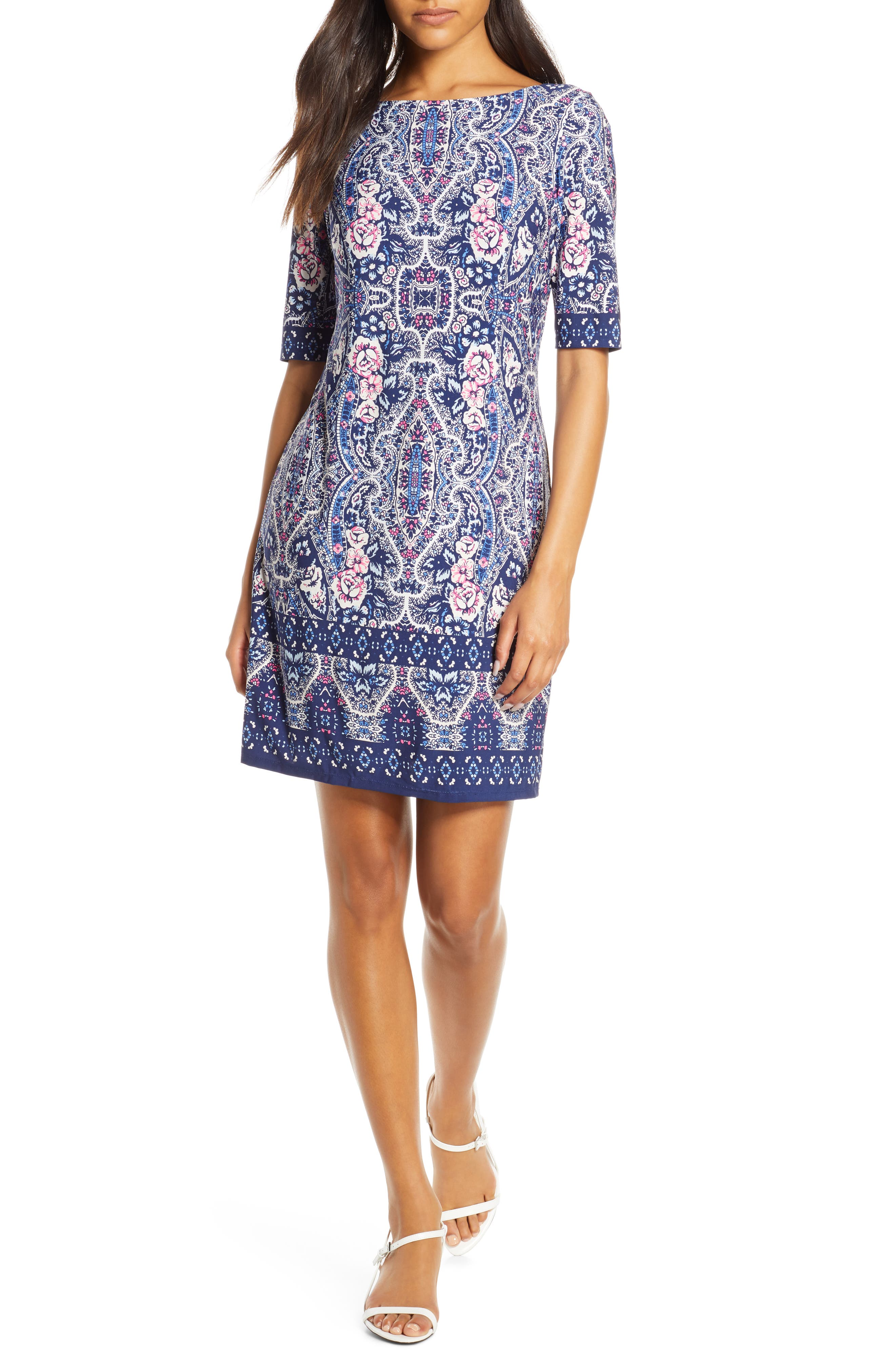 Petite Eliza J Print Bateau Neck Shift Dress, Blue