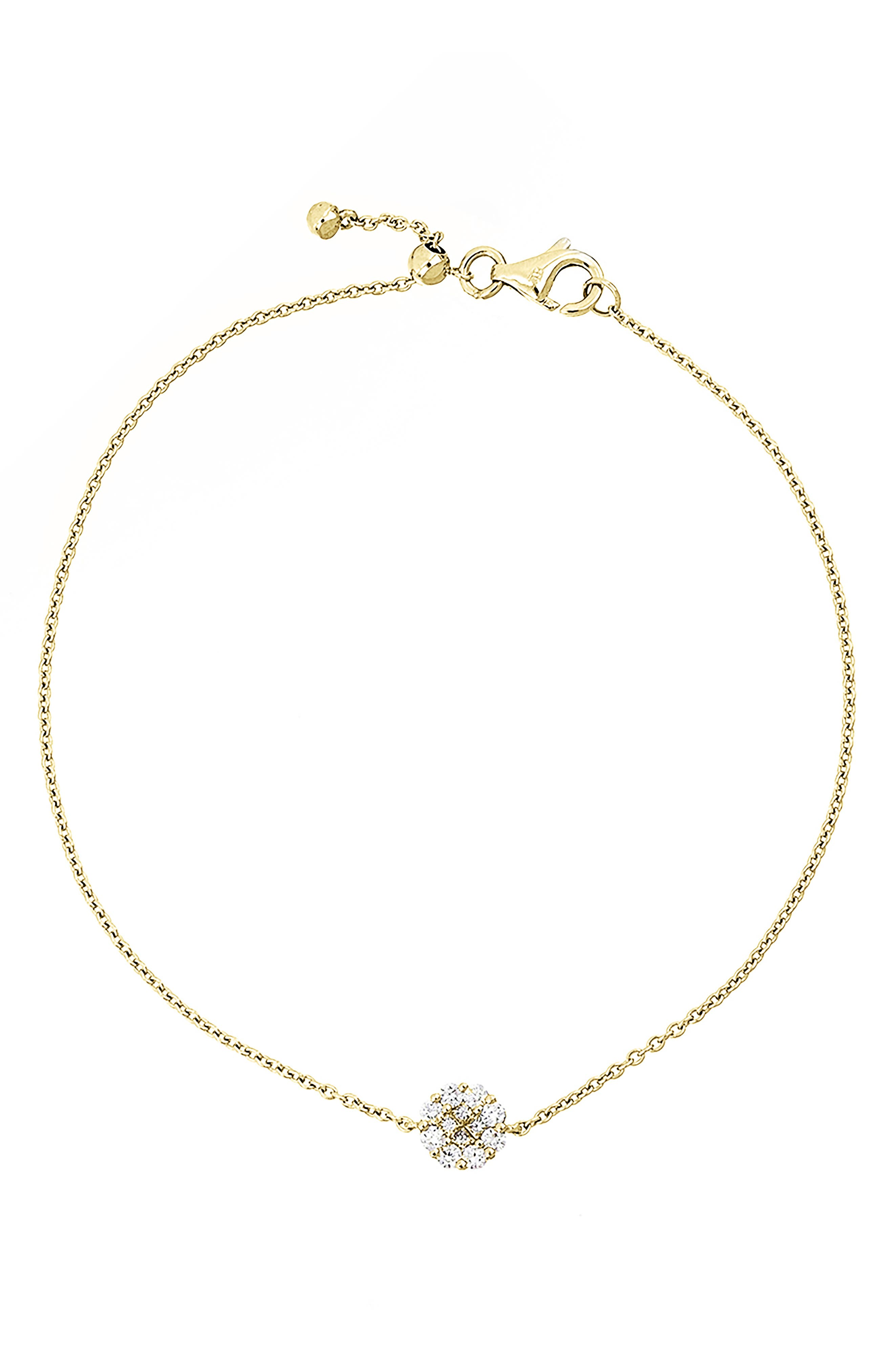 A delicate, wear-with-everything bracelet features an elegant circle pendant ablaze with 12 sparkling diamonds that seamlessly form the look of a larger gem. Style Name: Bony Levy Mika Pave Diamond Circle Pendant Bracelet (Nordstrom Exclusive). Style Number: 6063859 1. Available in stores.