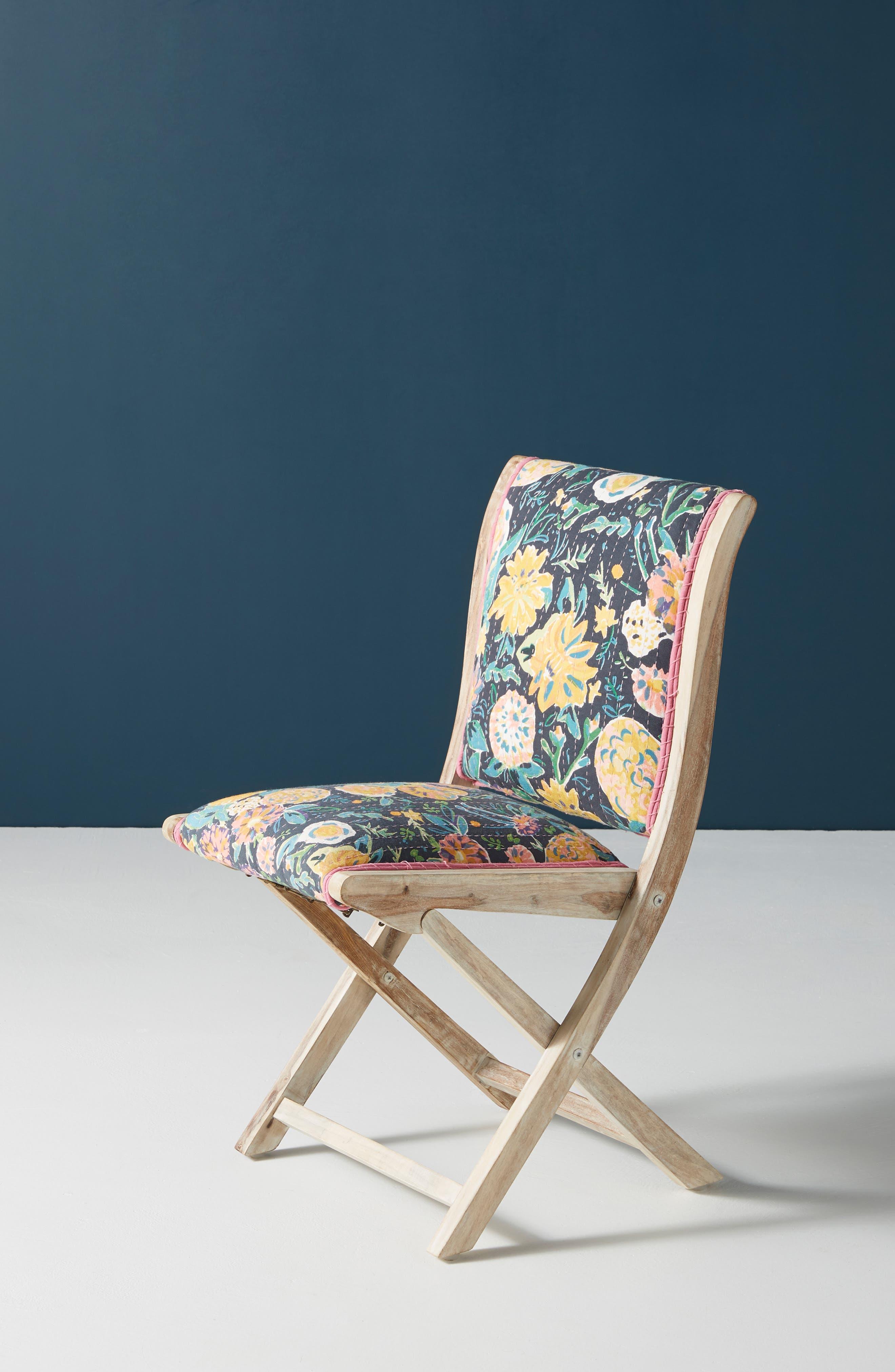 ,                             Emma Terai Folding Chair,                             Alternate thumbnail 2, color,                             BLACK MULTI