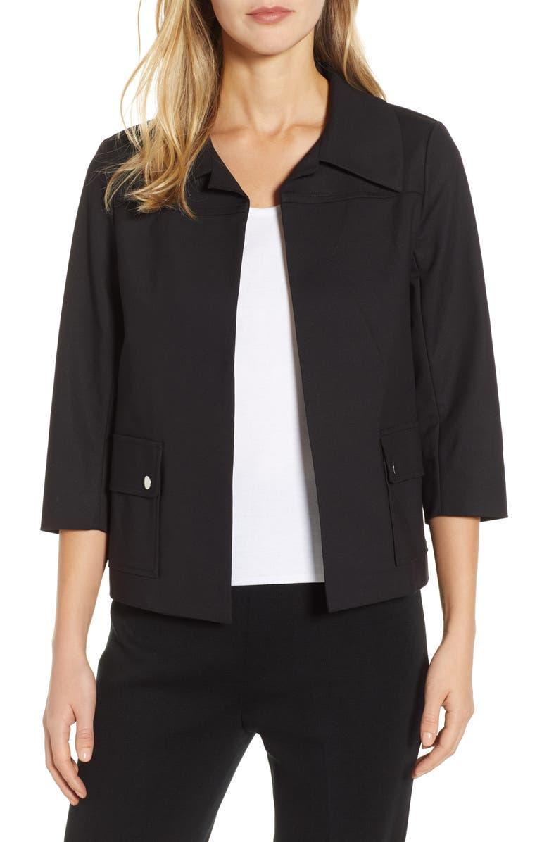 MING WANG Collared Crop Jacket, Main, color, BLACK