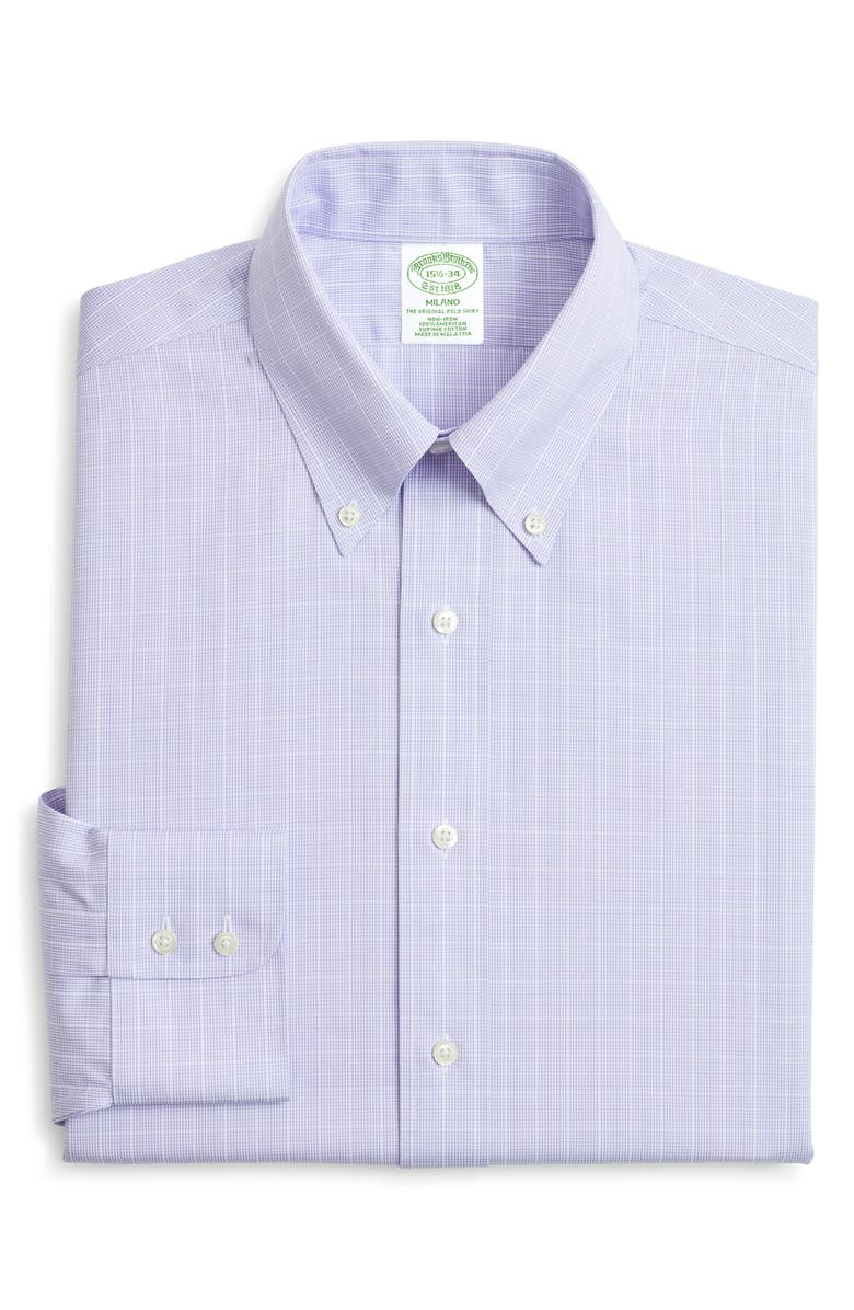 BROOKS BROTHERS Trim Fit Check Dress Shirt, Main, color, PURPLE