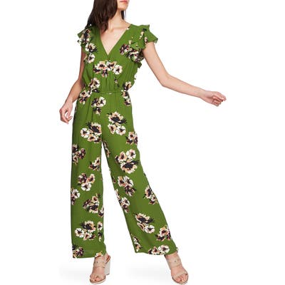 1.state Mirage Wrap Front Flounce Sleeve Jumpsuit, Green