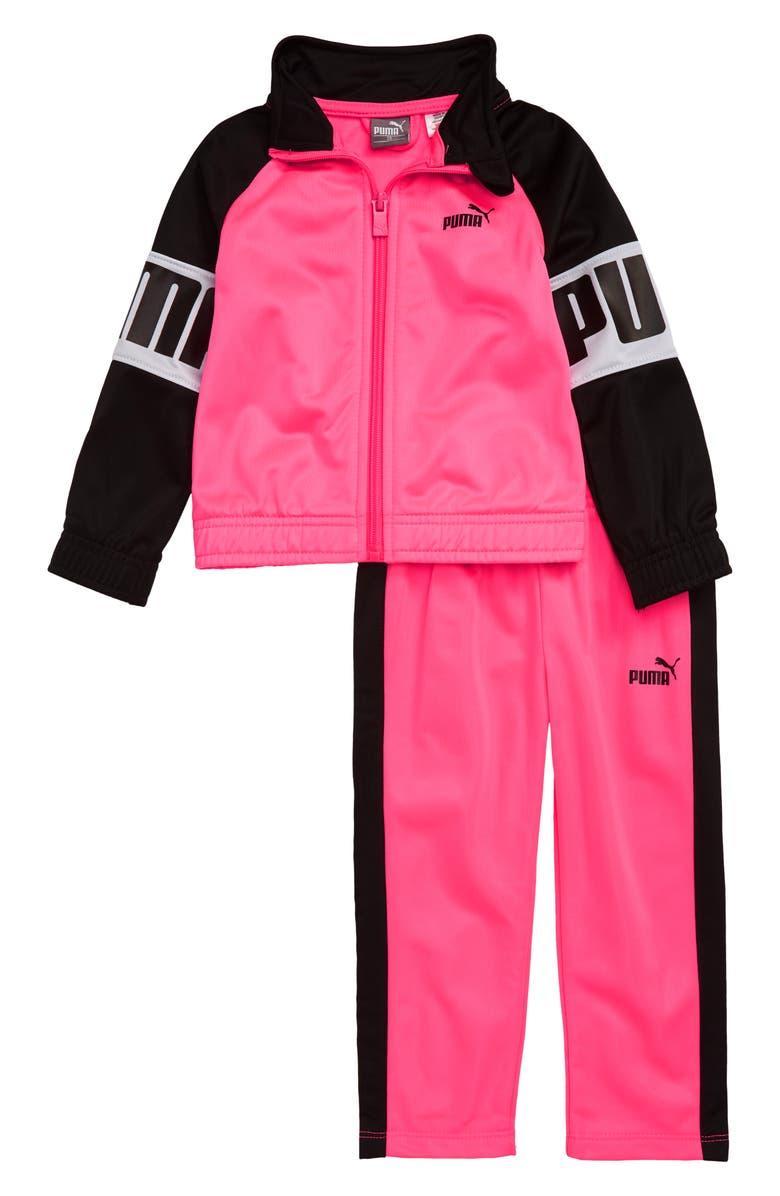 PUMA Track Jacket & Pants Set, Main, color, KNOCKOUT PINK