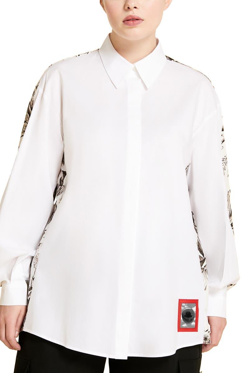 MARINA RINALDI Floral Print Back Button-Up Shirt, Main, color, WHITE