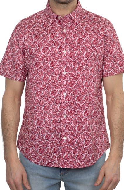 Image of Slate & Stone Leaf Print Short Sleeve Shirt