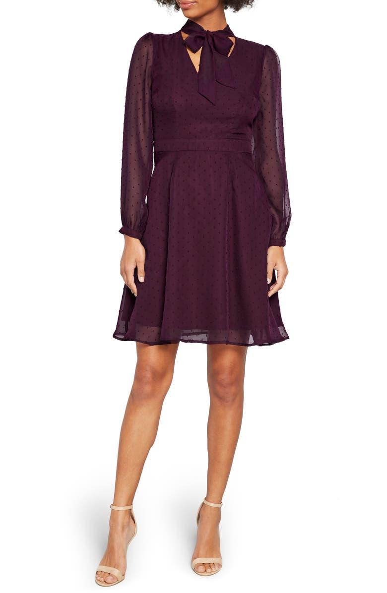 MODCLOTH Swiss Dot Long Sleeve A-Line Dress, Main, color, PURPLE
