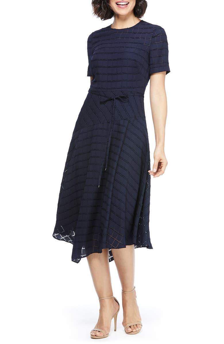 MAGGY LONDON Box Textured Dress, Main, color, NAVY
