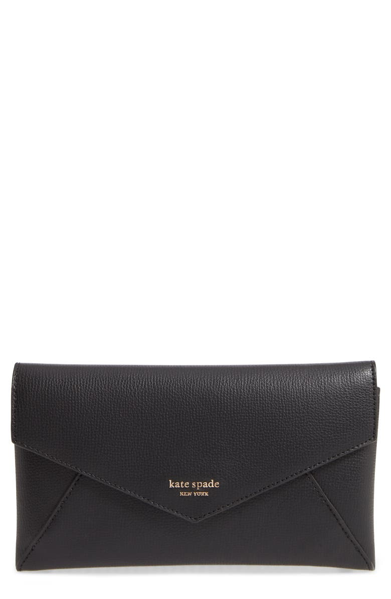 KATE SPADE NEW YORK sylvia leather wallet on a chain, Main, color, 001
