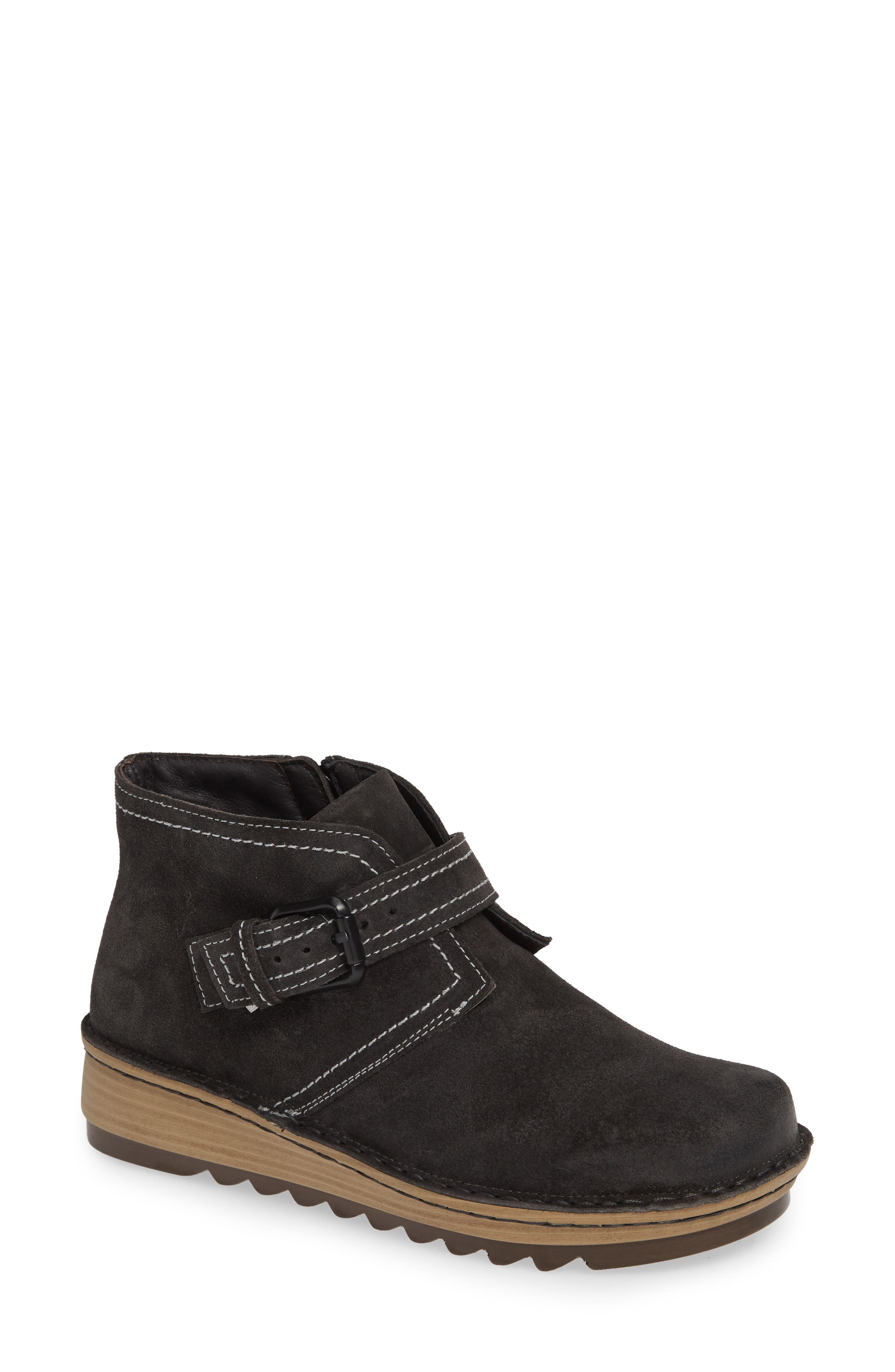 ,                             Louisa Wedge Bootie,                             Main thumbnail 1, color,                             OILY MIDNIGHT SUEDE
