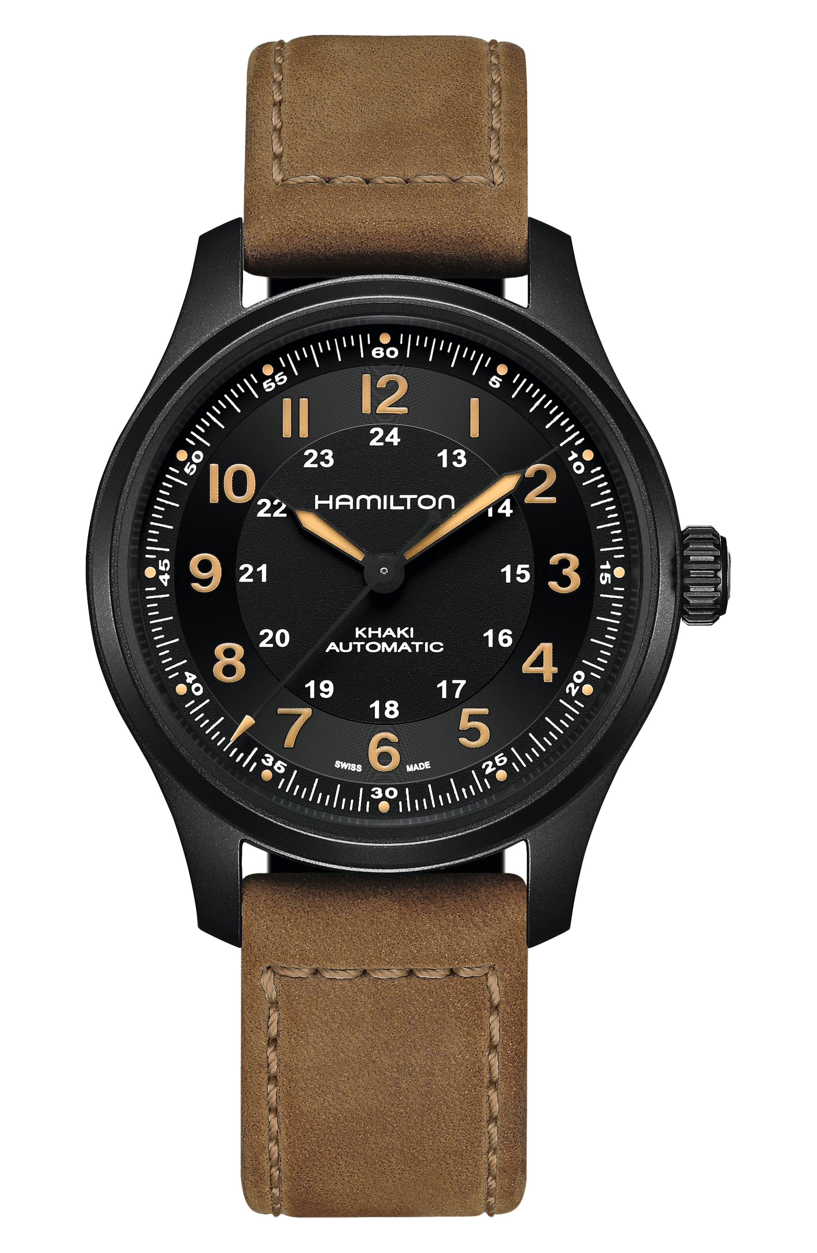 Khaki Field Titanium Automatic Leather Bracelet Watch