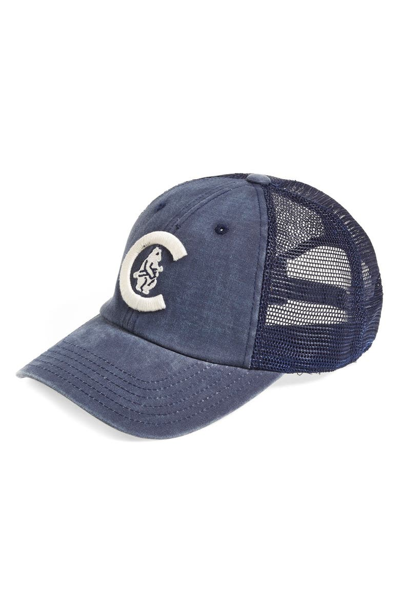 AMERICAN NEEDLE 'Chicago Cubs - Raglan Bones' Mesh Trucker Cap, Main, color, 410