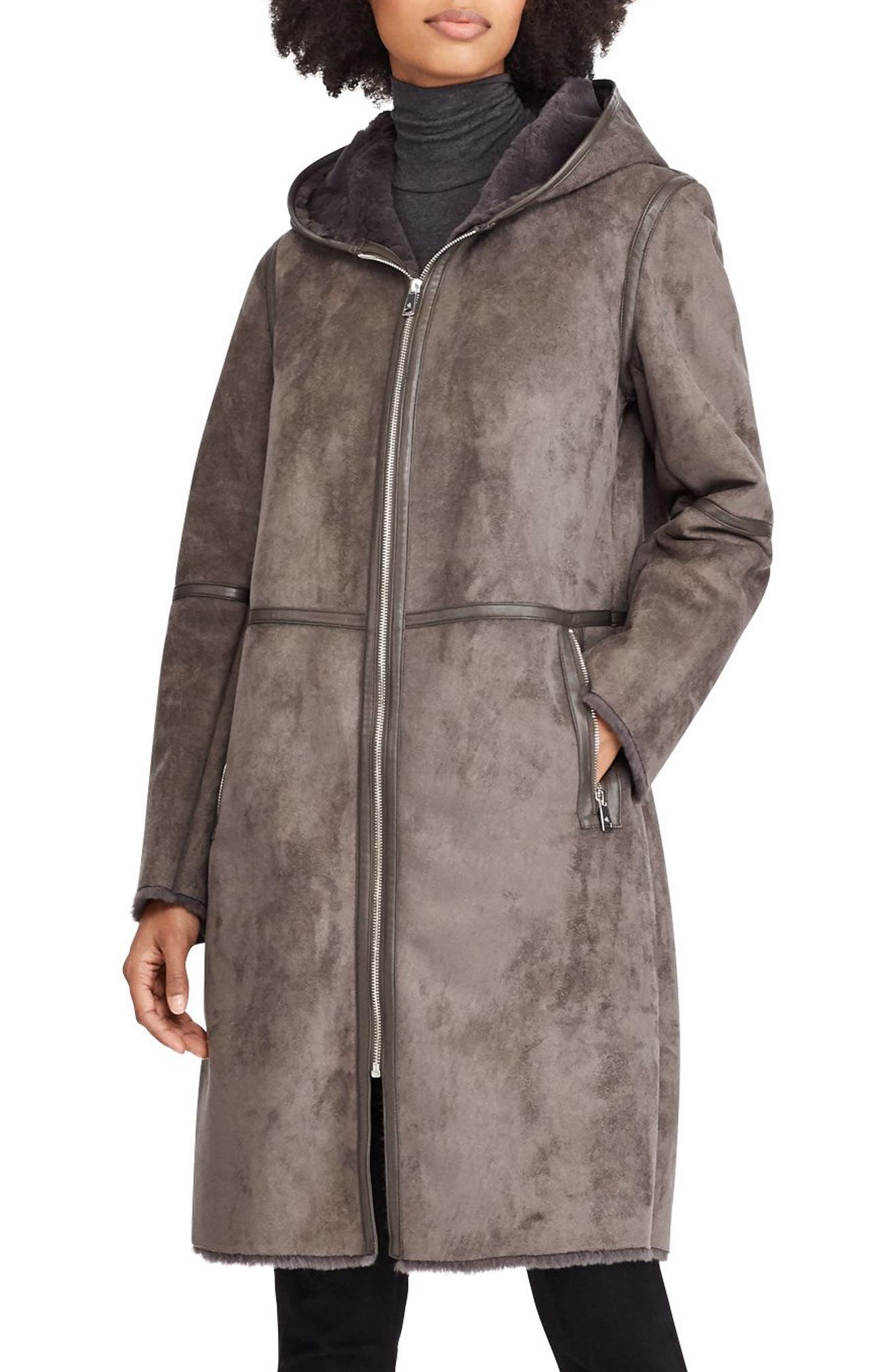 ,                             Faux Shearling Duffle Coat,                             Main thumbnail 3, color,                             034