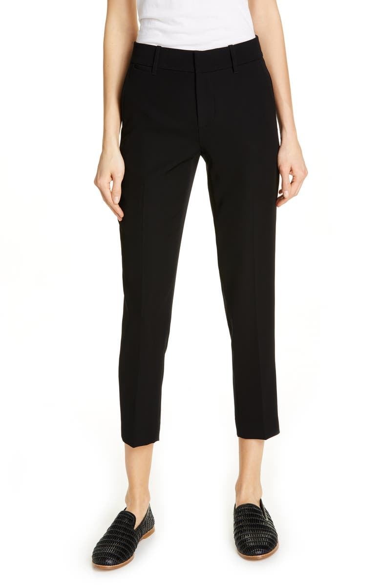 VINCE Flat Front Crop Trousers, Main, color, BLACK