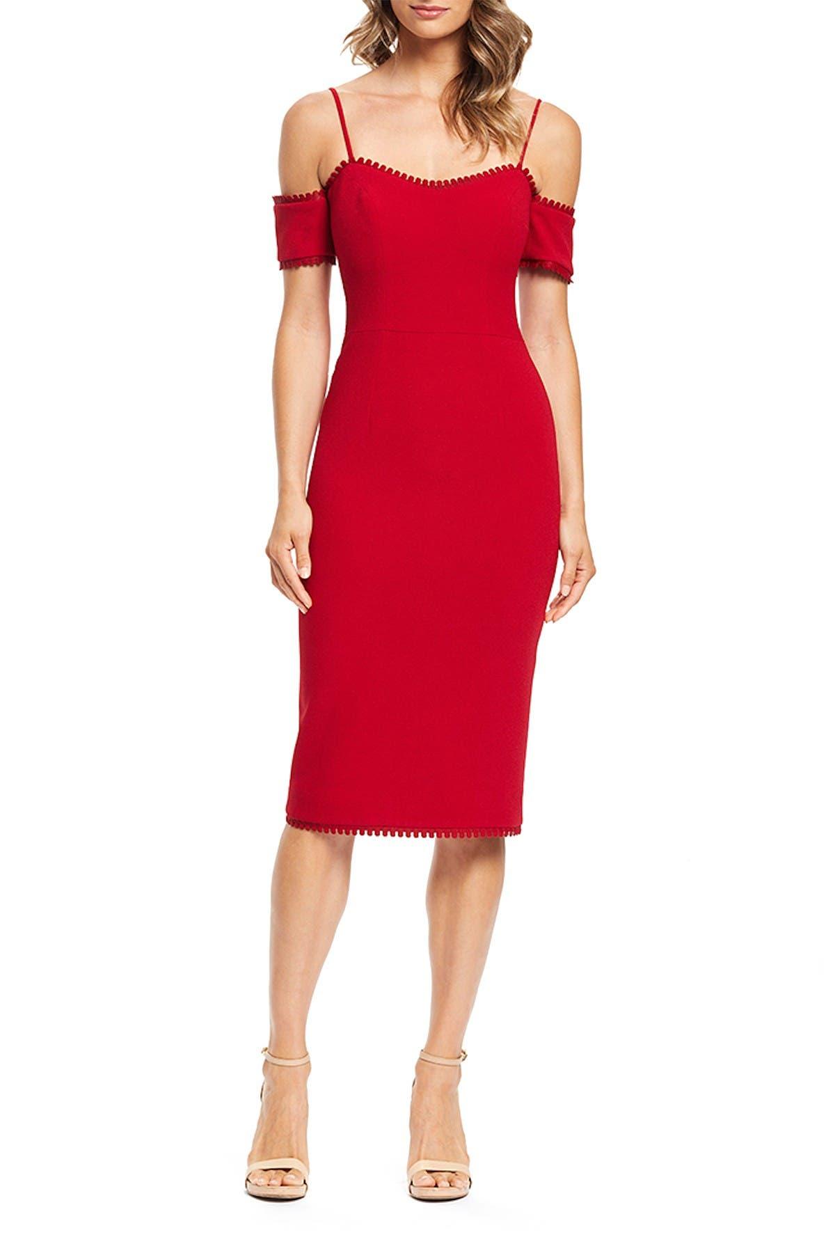 Image of Dress the Population Adrian Cold Shoulder Midi Dress