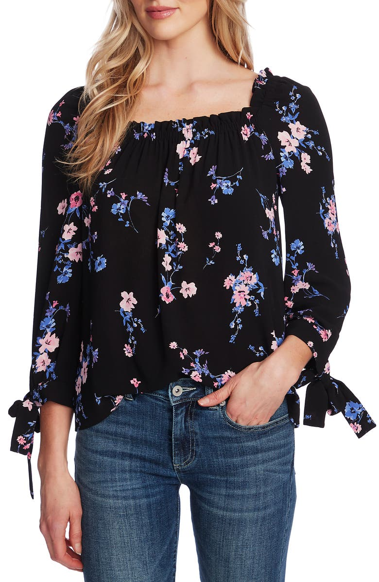 CECE Watercolor Daisies Square Neck Tie Cuff Crepe Top, Main, color, RICH BLACK
