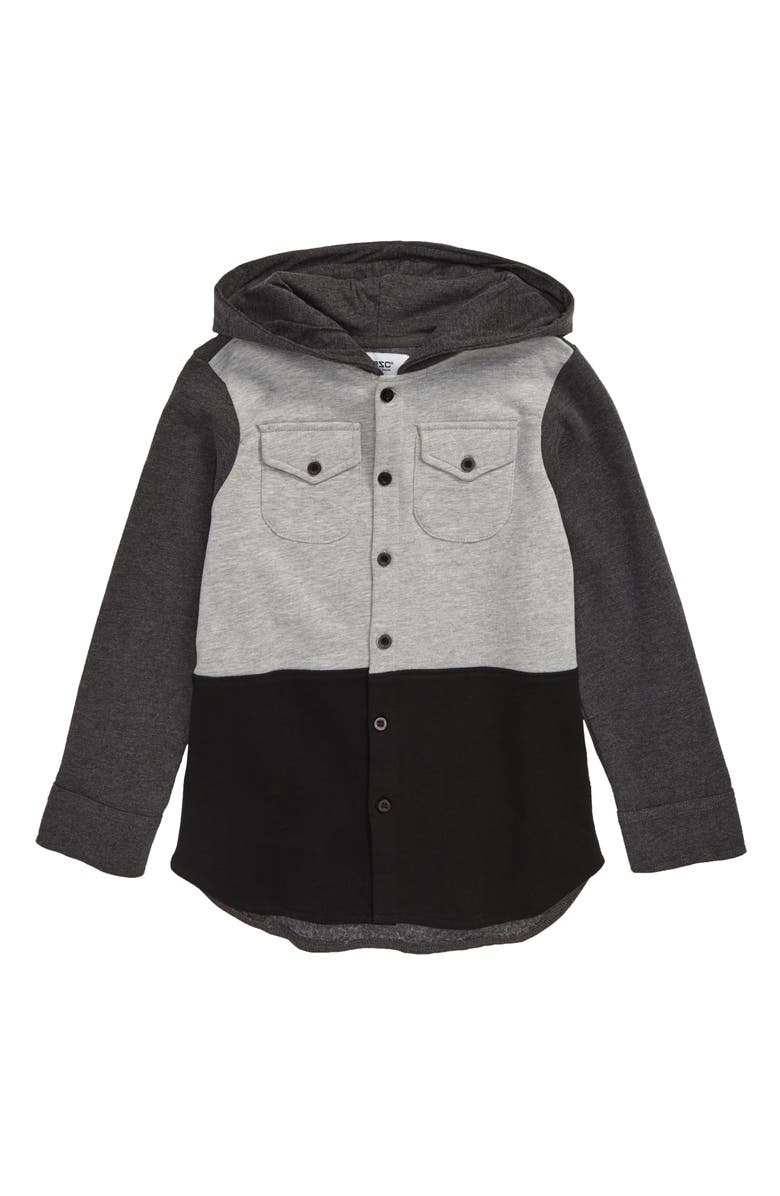 WESC Colorblock Hooded Button-Up Shirt, Main, color, HEATHER CHARCOAL