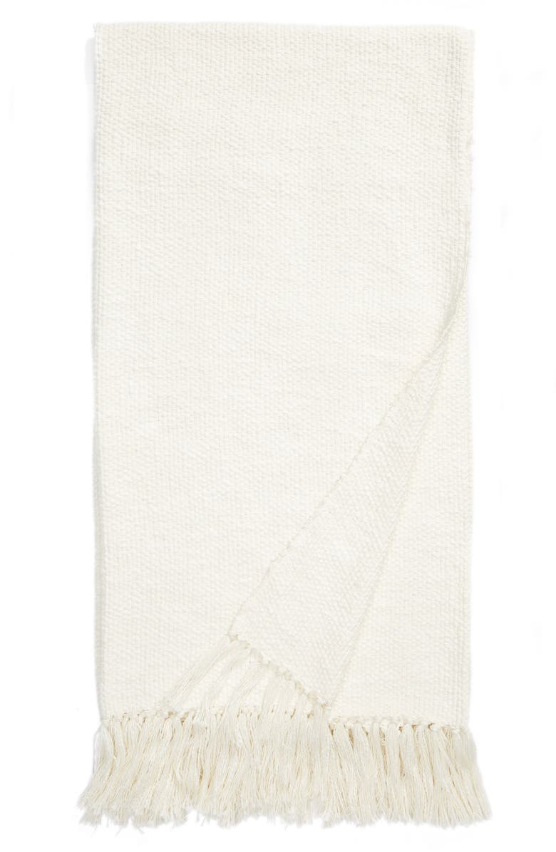 NORDSTROM Woven Cotton Throw Blanket, Main, color, IVORY