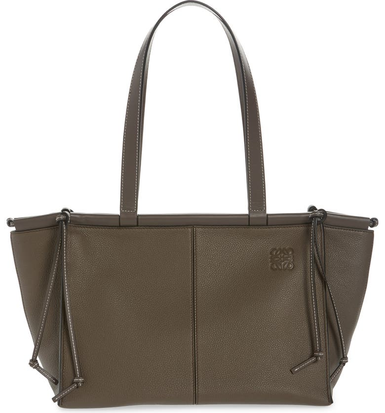 LOEWE Small Cushion Leather Convertible Gusset Tote, Main, color, DARK TAUPE
