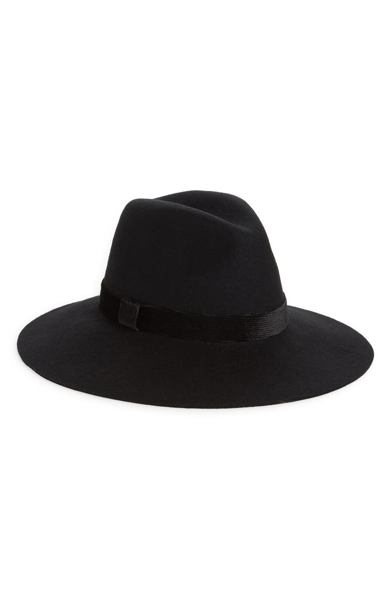 RACHEL PARCELL Velvet Trim Felted Wool Panama Hat, Main, color, BLACK