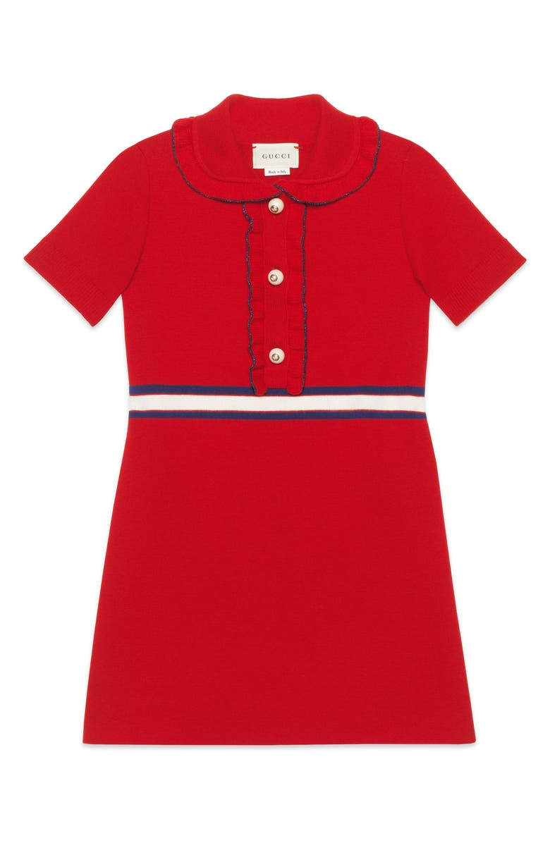 GUCCI Ruffle Trim Wool Dress, Main, color, LIVE RED