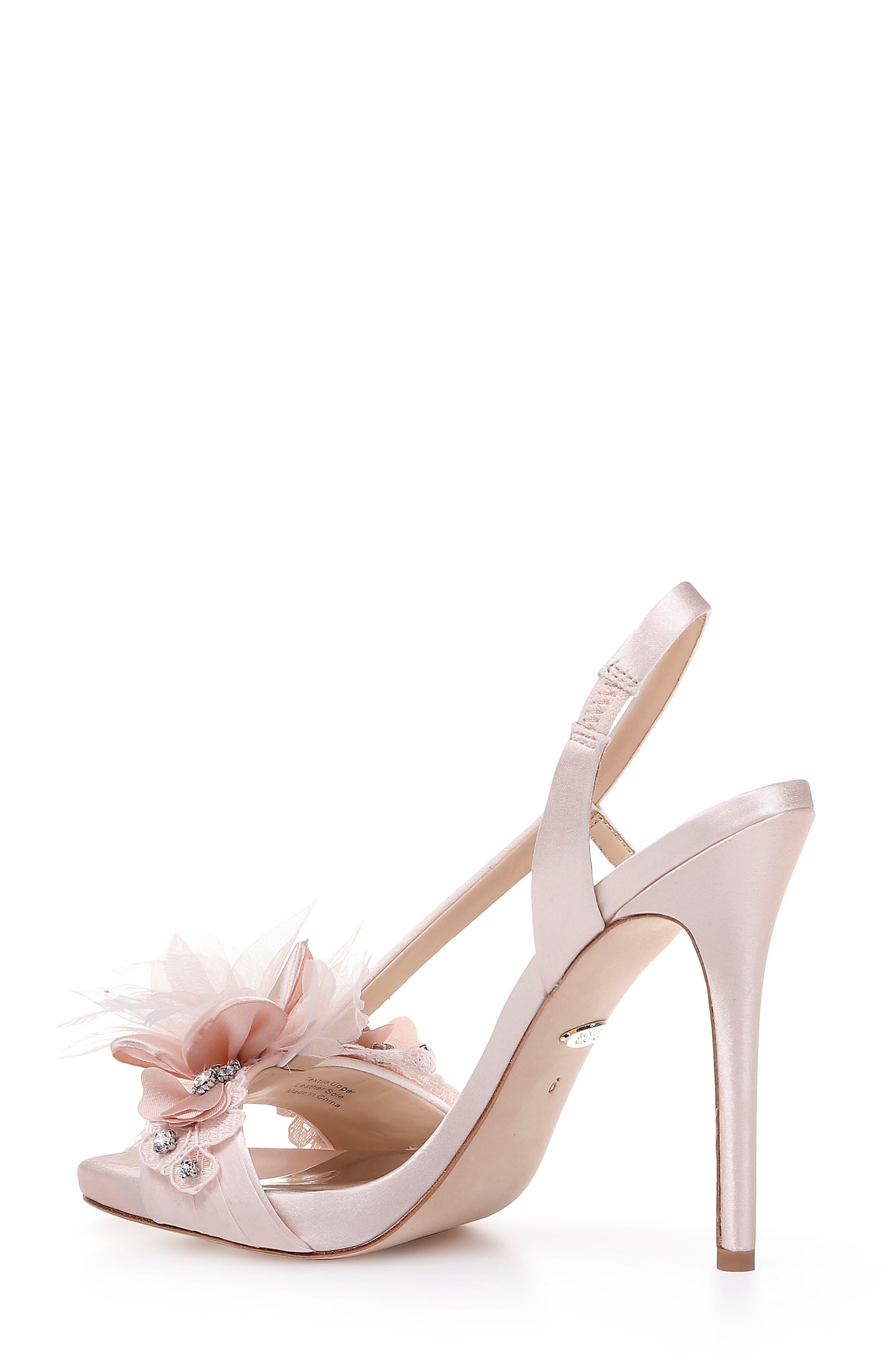 ,                             Badgley Mischka Forever Flower Sandal,                             Alternate thumbnail 2, color,                             LIGHT PINK SATIN