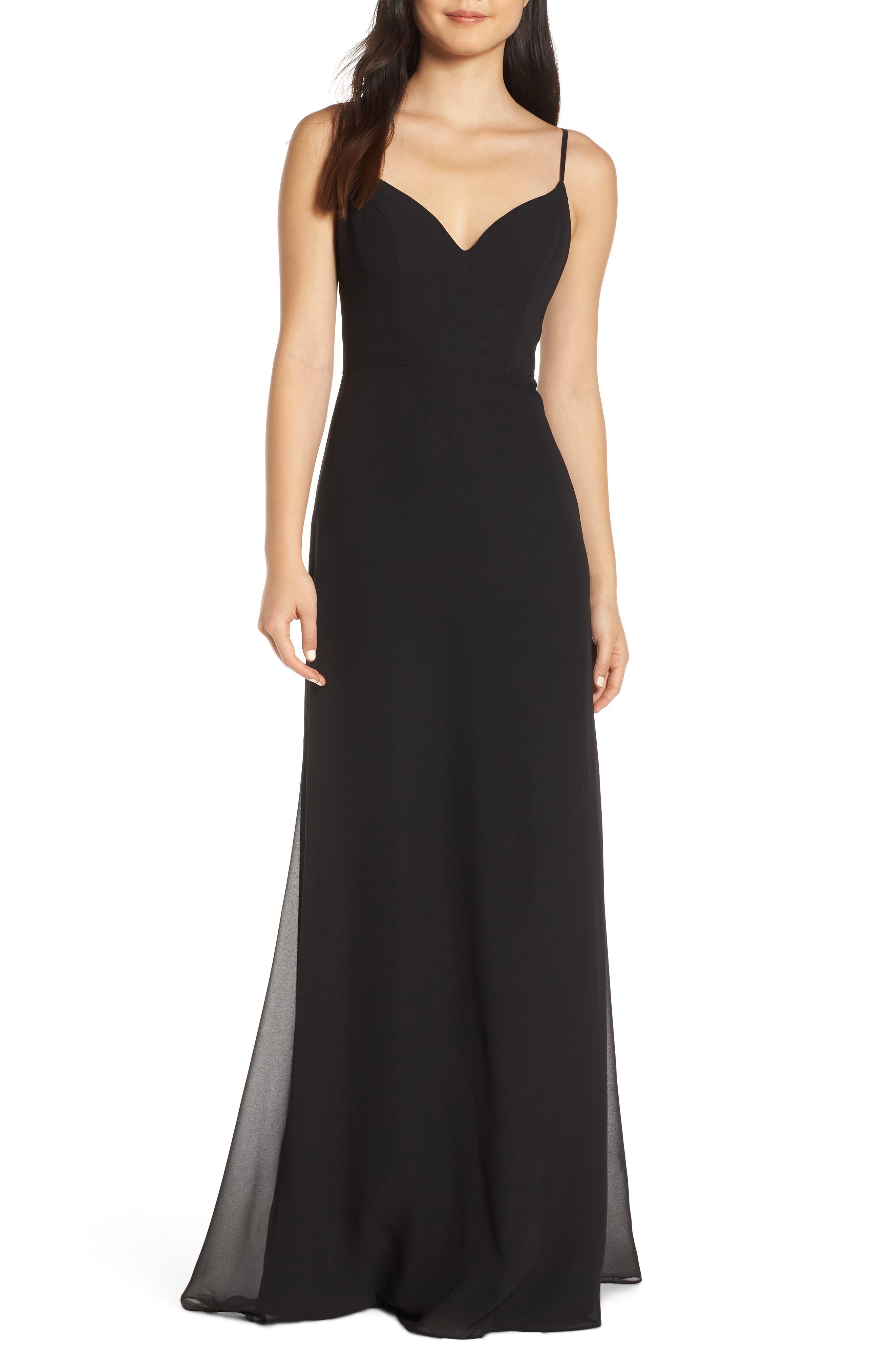 Hayley Paige Occasions V-Neck Chiffon Evening Dress, Black