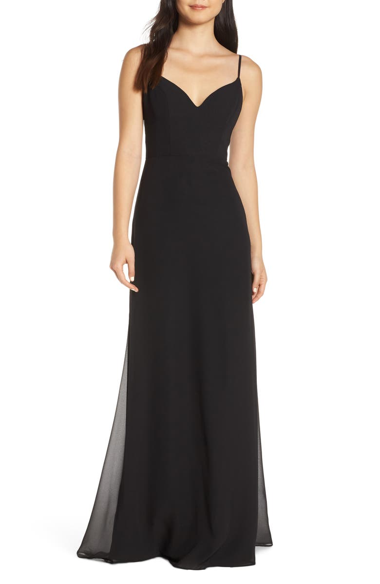 HAYLEY PAIGE OCCASIONS V-Neck Chiffon Evening Dress, Main, color, BLACK