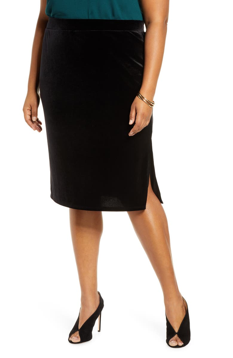 HALOGEN<SUP>®</SUP> Velvet Pencil Skirt, Main, color, BLACK