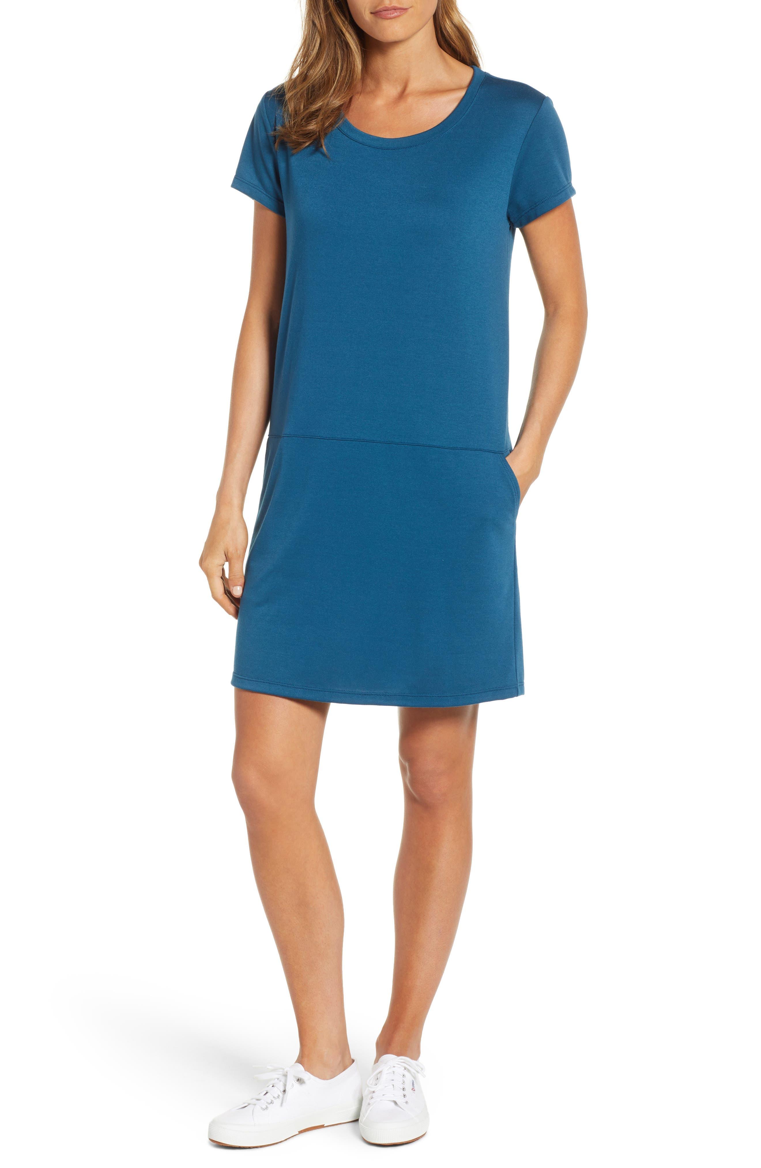Caslon Knit Shift Dress, Blue/green