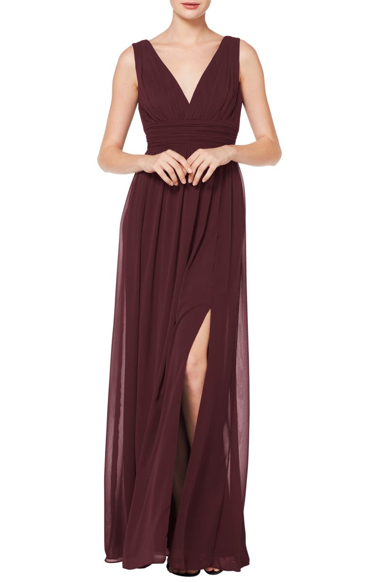 #LEVKOFF V-Neck Pleated Chiffon Evening Dress, Main, color, WINE