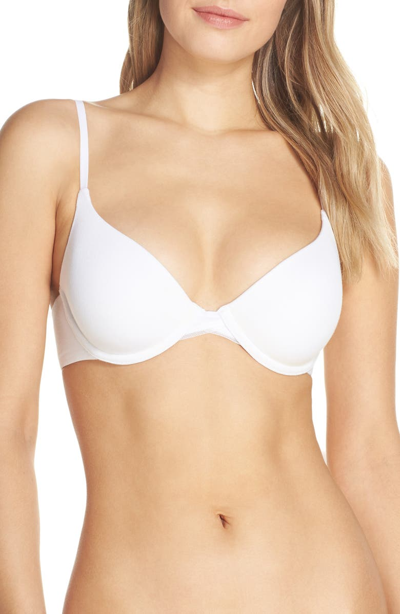 ON GOSSAMER Cabana Cotton Blend Convertible Underwire Bra, Main, color, WHITE