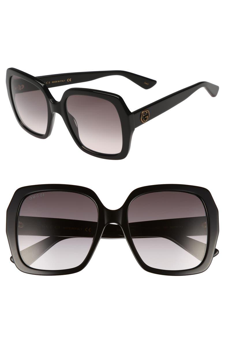 GUCCI 54mm Gradient Square Sunglasses, Main, color, 001