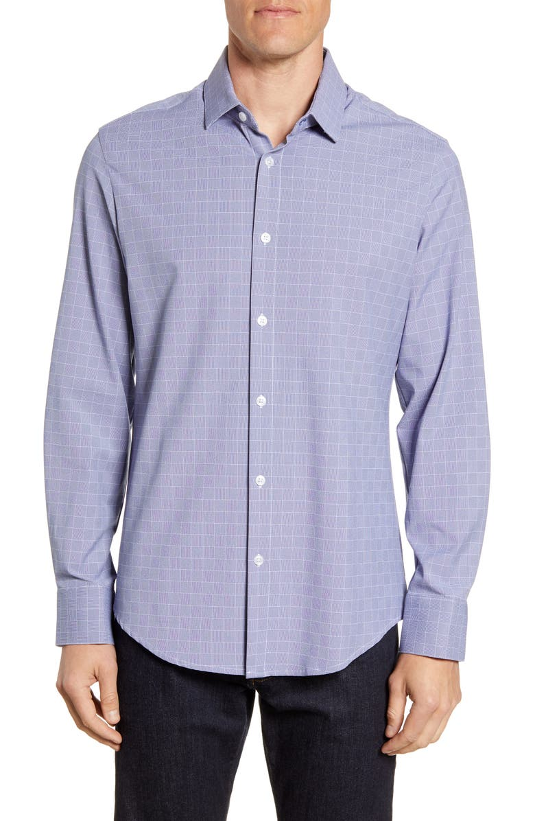MIZZEN+MAIN Garner Button-Up Performance Sport Shirt, Main, color, NAVY