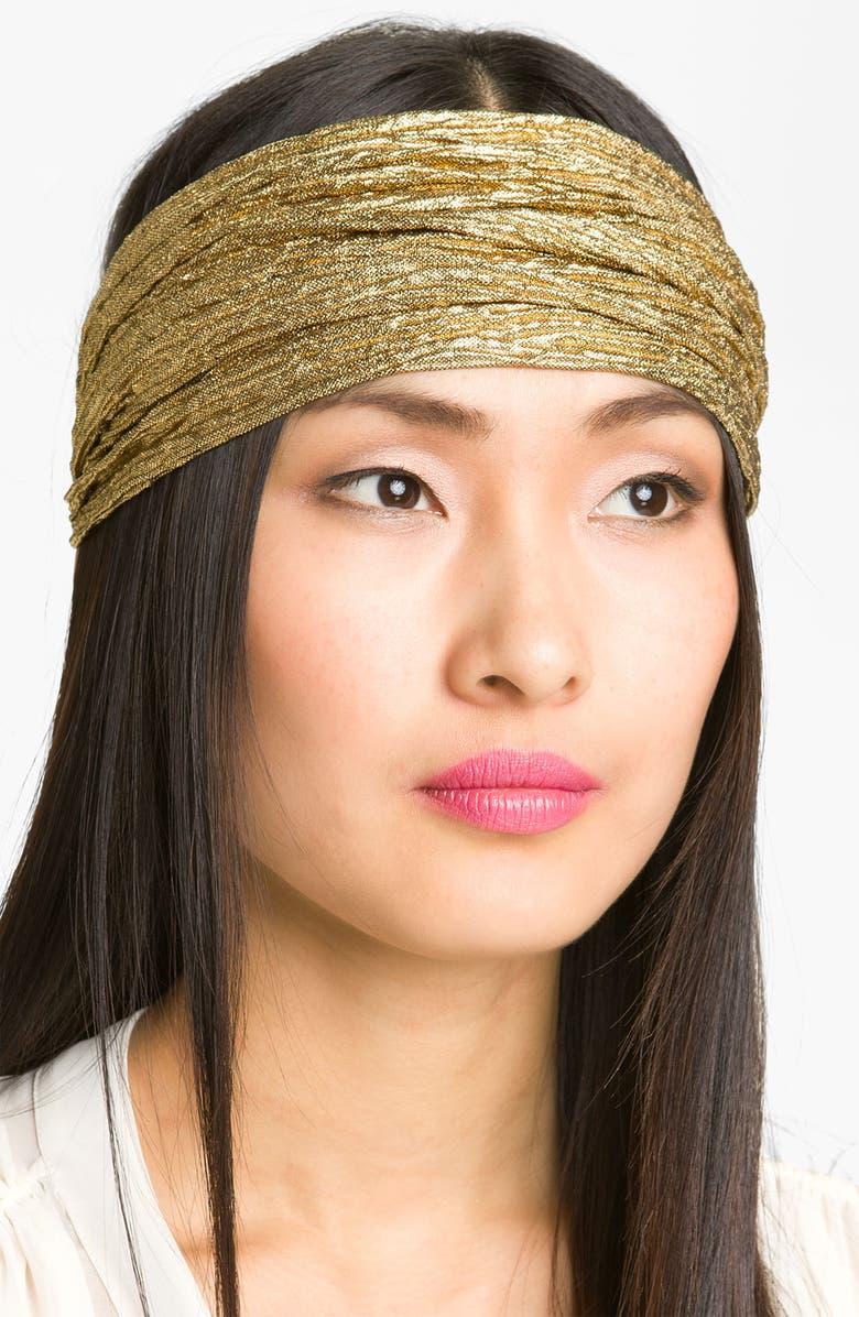 CARA Gold Crinkle Head Wrap, Main, color, 710