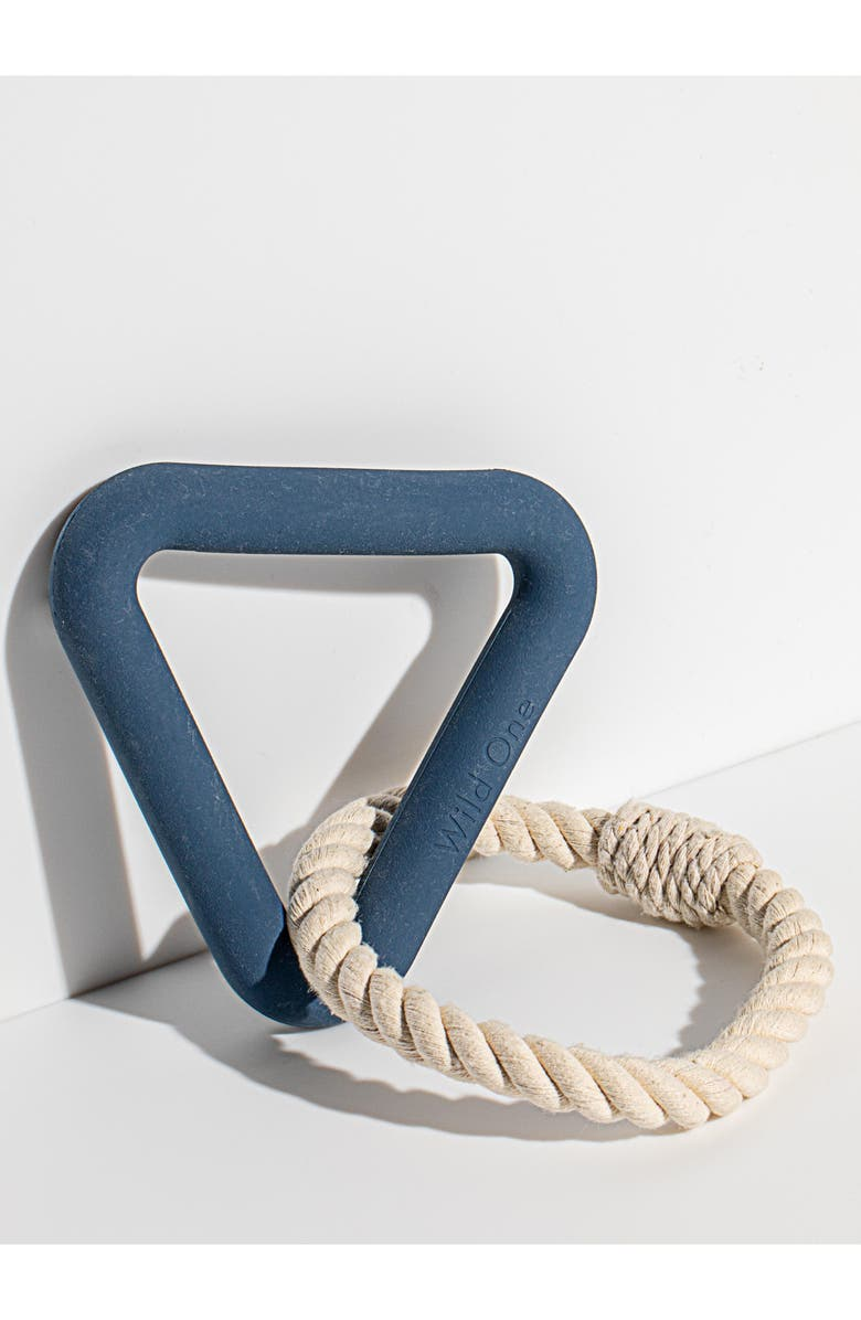 WILD ONE Triangle Tug Dog Toy, Main, color, NAVY
